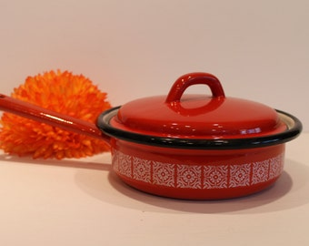 Vintage Japy Cookware - Red Enamel Pan - Red and White Enamel Frying Pan