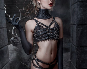 Succubus Leather Costume,Handmade costume,Leather Harness,Harness lingerie,Dominatrix,Fetish,BodyCage,BDSM,Harness,Women,mature,Demon outfit