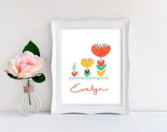 Personalized Nursery Print, Three Tulips Print - Available in Four Colors