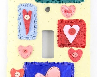 Crazy Hearts, Quilted Light Switch Cover,Quilted Hearts, Light Switch Cover,Heart Light Switch Cover,Yellow Switch Cover, Decorative Switch