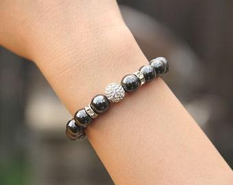 Hematite Bracelet Stress Relief Gifts Positive Energy Bracelet Bead Bracelet Women Protection Bracelet Anxiety Jewelry Gift for CoWorker