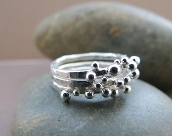 Sterling Silver Pebble Stacking Rings Set of 3, Hammered Silver, Abstract Silver, Minimalist Ring, Gift for Her, Made to Order