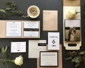 EVANGELINE SUITE - Rustic // Classic // Elegant // Black & White // Wedding Invitation Suite - DEPOSIT for Print Order