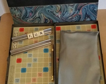 Vintage Metal Scrabble Travel Game with binder 1954. Complete. Magnetic game pieces, magnetic pencil.