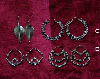 SALES !!BRONZE EARRINGS - Gypsy Collection - Unique - Chic - Boho - Design - Tribal - Indian - Goa - Travel - Fairy - Pixies