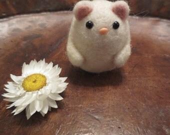 Needle felted snowy white kawaii cute kitten ornament small gift keepsake