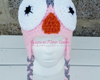6-10 years, tuque OWL grey and pink available immediately