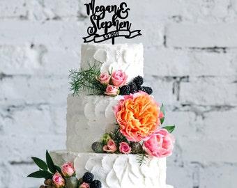 Personalized Wedding Cake Topper   Wedding Cake Topper   Bridal Shower Cake Topper   Romantic Cake Topper   Script Cake Topper