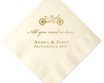 Love is All You Need Personalized Wedding Napkins