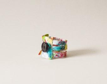 birds cuff bracelet, fabric bracelet, brown cuff bracelet, fabric jewelry, bird lovers