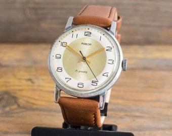 Vintage men's watch, Vintage Pobeda mens watch, vintage russian watch ussr cccp, casual watch, soviet watch,
