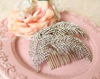 Crystal Hair Comb,  Feather Hair Combs, Bridal Headpiece, Rhinestone Wedding Accessories