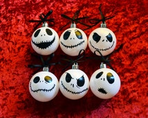 Pack 6 hand painted Christmas ornaments. Faces of Jack Skellington, Nightmare before Christmas. Decor, Xmas, white, black, tree. Halloween
