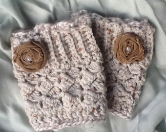 Women's Crochet Boot Cuffs with Angel Hair Trim -Gift Wrapped and Ready TO BE Shipped