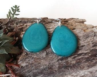 Tagua Earrings, Turquoise earrings, Tagua Jewelry, Boho jewelry, Dangle Earrings, Gift for her, Tagua Nut Earrings, Bridesmaid earrings