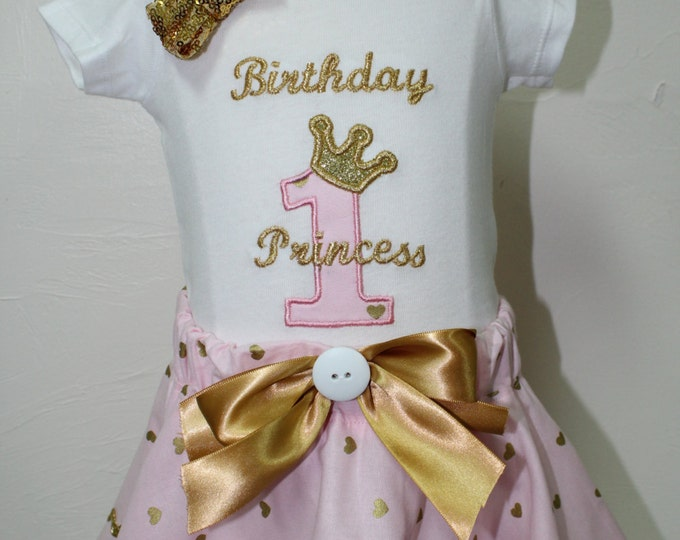 Pink and Gold birthday outfit,Girl 1st birthday,1st birthday outfit,Princess birthday,baby girl birthday,Girl birthday bodysuit, Disney
