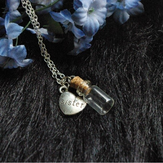 Vial Necklace For Ashes: Memorial Necklace For Sister Urn Vial Necklace By
