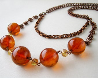 Chainmail amber beaded necklace. Copper layered long necklace with natural vintage amber beads