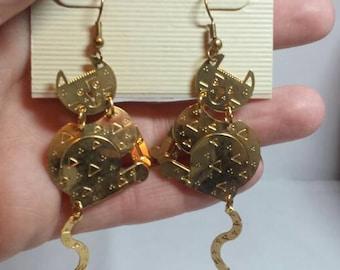 Vintage Cat Earrings Dangling Earrings Hanging Cat Earrings Hook Cat Earrings Kitty Cat Earrings