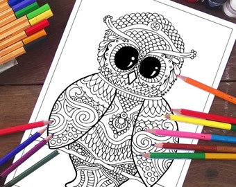 Owl coloring pages Etsy
