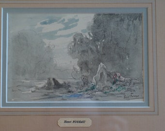 Blacklead and watercolor drawing by Henri Foreau - wooden frame