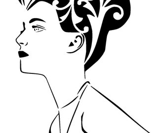 "6/6 "" vintage woman stencil 1"