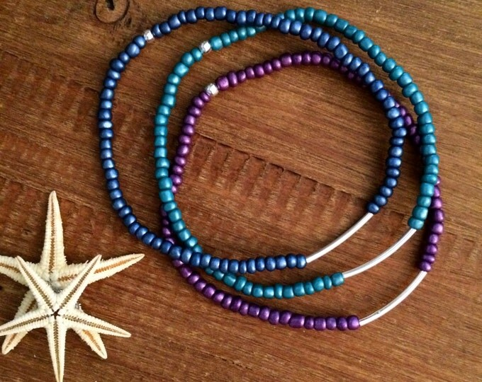 Valentine Gift Anklet Stretch Beaded Ankle Bracelet Bridesmaids Gift Arm Band Boho Wedding Party Gifts Custom Beach Blue Teal Purple Anklet