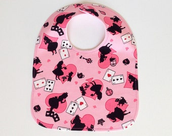 Large baby bib, baby shower gift, baby girl bib, pink, alice in wonderland