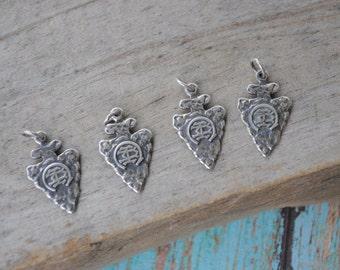 Camp arrowhead charm Summer camp charms arrowhead charms sterling silver jewelry Camp arrowhead camp charms - 1392