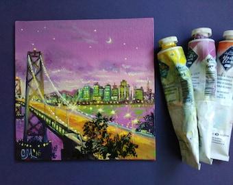 New York City Christmas Gift|for|boyfriend gift|for|mens gift|for|dad Miniature Abstract|art Original-painting Modern|art Manhattan bridge