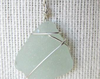 Pale Seafoam Sea Glass Necklace/Pendant//Sterling Wire Wrapped/Jewelry/Urban Boho/Maine/Sea Swag