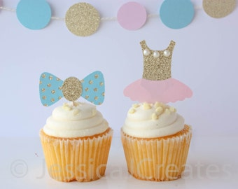 Gender Reveal Cupcake Toppers - Gender Reveal Party - Gender Reveal - Bow Tie or Tutu - Baby Shower Decor - Baby Shower Cake Toppers