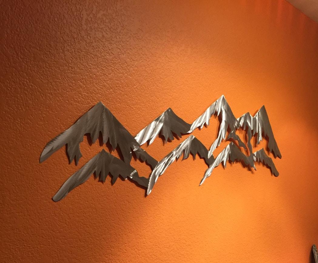 Mountain Metal Wall Art 4 Foot Long Colorado Mountains And