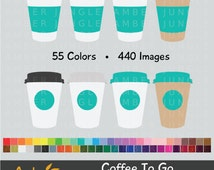 Coffee To Go Clipart - Coffee Cup To Go Cup Clip Art for Planner Stickers- Tea Take Out Take Away Rainbow Paper Cups Drinks Instant Download
