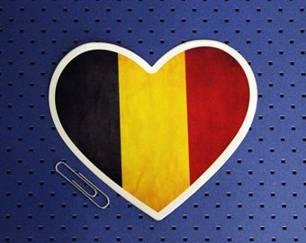 Belgium Heart Flag Sticker