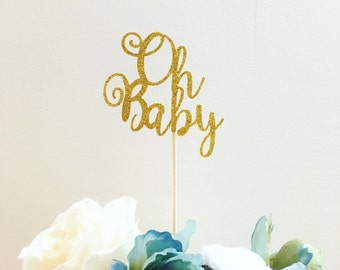 Oh baby cake topper . Baby shower cake topper . Oh baby gold cake topper . Baby shower ideas . gender reveal party . Gold theme