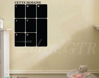 Chalkboard Decal Calendar in French - weekly calendar - 15x22- weekly planner vinyl - Chalk board Week Wall Calendar - C043