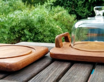 Teakwood Serving Tray Set/Dolphin Teakwood/Goodwood Teakwood/Genuine Teakwood/Wood Terrarium/Cheese Tray/Serving/Glass Dome/*FREE GIFT WRAP*