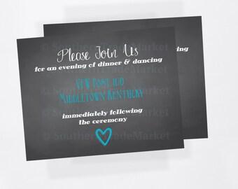Custom Wedding Reception Card Chalkboard/Handlettering Inspired
