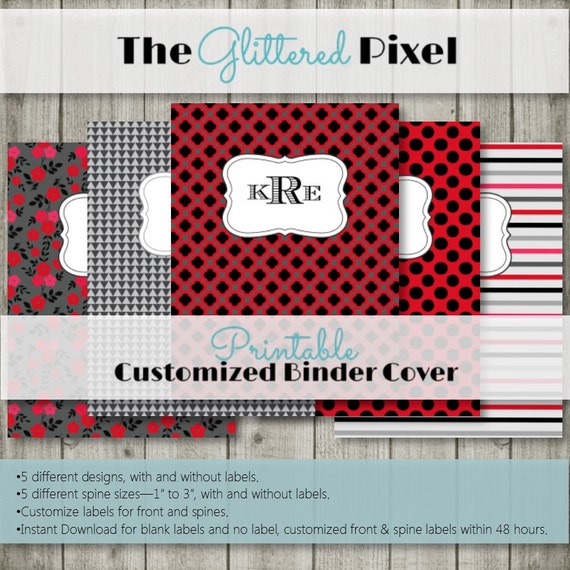 Printable Binder Covers Red Black And Gray Collection