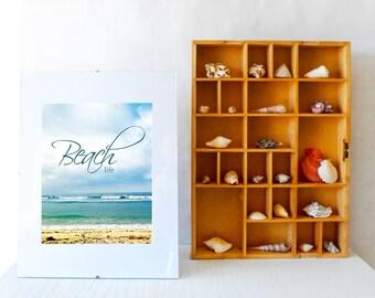 Beach life digital print, beach scene, beach quote, beach 8x10 print, instant download