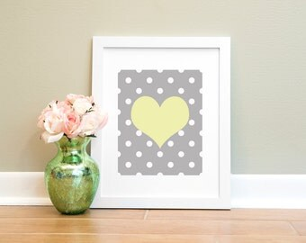 Yellow Heart Printable Wall Art Print, Nursery Printable, Child Wall Art, Grey Yellow Heart Print, Printable Wall Art, Nursery Art