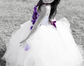 Flower girl dress, flower girl tutu, birthday outfit set, birthday tutu, newborn tutu, wedding tutu, beautiful hydrangea tutu princess