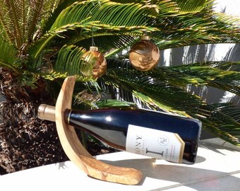 Olive Wood Wine Bottle Holder, curved