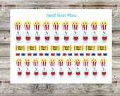 50+ Movie Night/Popcorn and Drink Planner Stickers