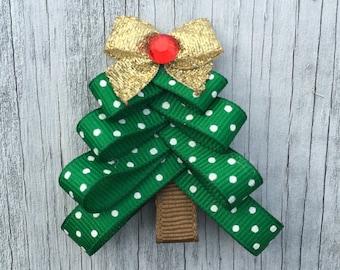 Christmas Tree Hair Bow Clip // Holiday Hair Clip // Christmas Tree Bow // Christmas Tree Barrette // Christmas Tree Hair Clip // Christmas
