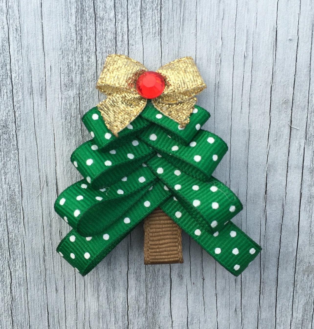 Christmas Tree Hair Bow Clip Holiday Hair Clip Christmas - Christmas Tree Hair Bows