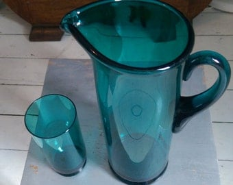 1960's Glass Jug and 6 Glasses