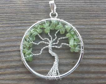 PERIDOT Tree Of Life Wire Wrapped Pendant Stone Natural Gemstone