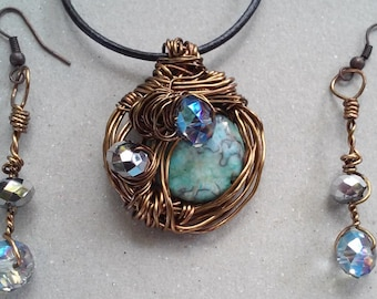 """Wire Jewelry Set, Handmade- Crystal, Bronze, Natural Stone, Design, Pendant Necklace (L- 18"""")/Earrings (1.75"""")"""